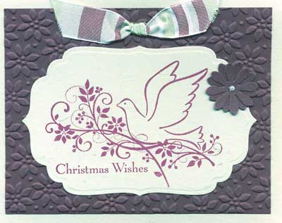Christmas card made with embossing, stamping and punch art flower' align=