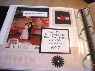 layout in anniversary scrapbook
