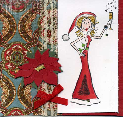 rubber stamped christmas card with woman in santa costume