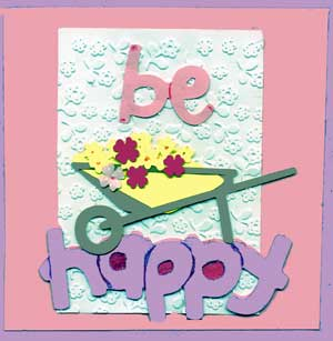 child's Easter card with die cut shapes