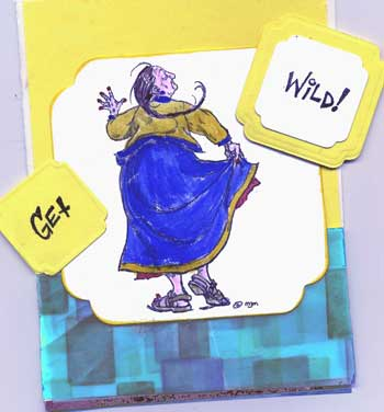 comic mothers day card with dancing woman