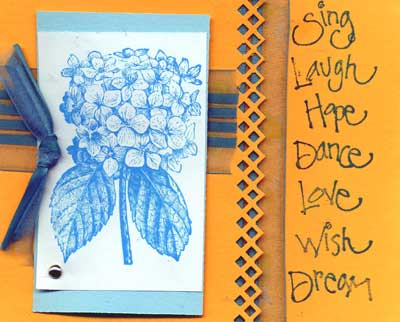 greeting card featuring stamped image of a hydrangea