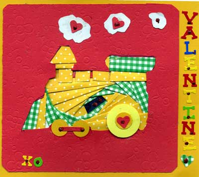toddlers valentine card made with iris folding in shape of a train