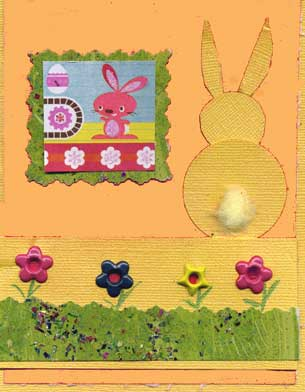 childs easter card with yellow bunny