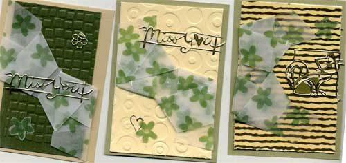 atcs made with knitted vellum embellishments