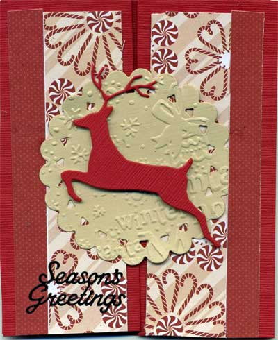 christmas card with die cut reindeer