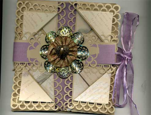 napkin fold card with Vintage French theme, open