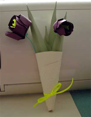 tussie mussie with paper tulips for Easter