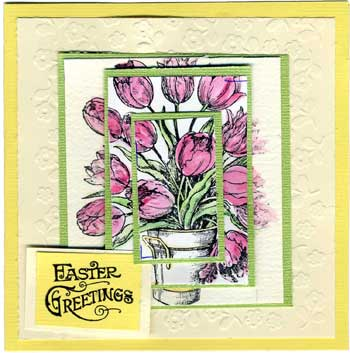 easter card with stamped tulips