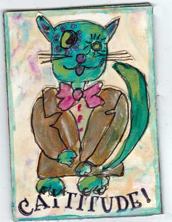 artist trading card with quirky cat drawn and painted with acrylic paint