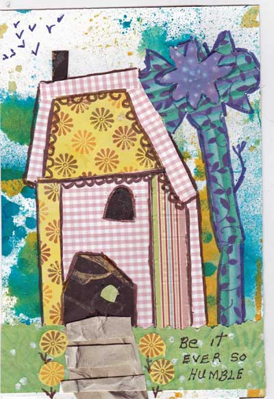 art journal page with image of wonky house