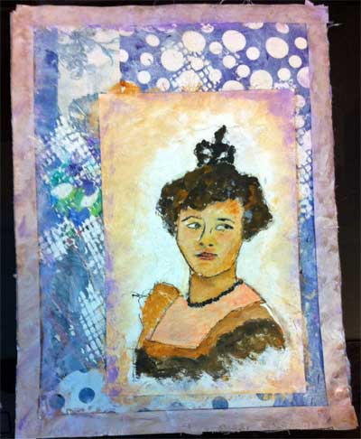 mixed media collage with picture of woman