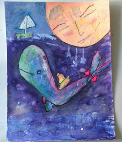 mixed media collage painting of a whale and a moon