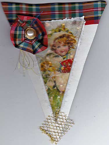 vintage girl and plaid ribbon on this pennant for holiday banner