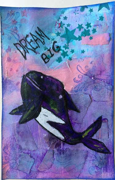 art journal page with painting of orca whale