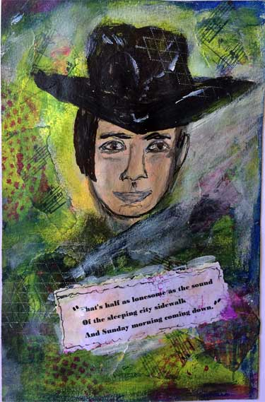 art journal page showing painting of Johnny Cash