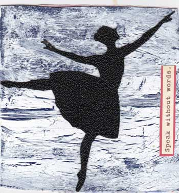 page for fat book with blue crackle background and a silhouette of a dancer