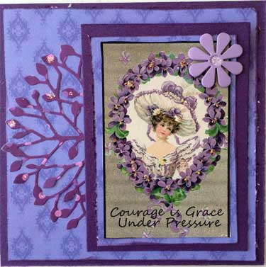 4 x 4 art card with purple color theme and picture of vintage lady