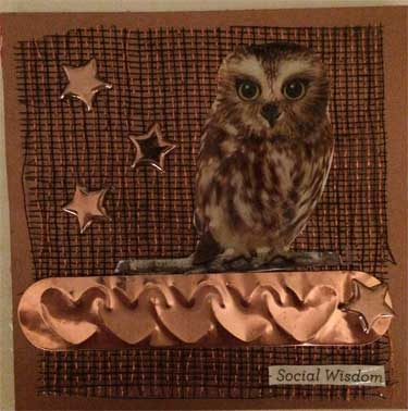 copper colored art card with owl