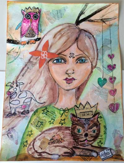mixed media painting of whimsical woman and quirky animals