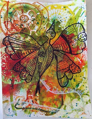 zentangle butterfly on mixed media background