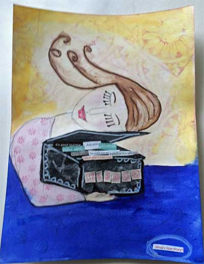 a mixed media project showing a box of wisdom