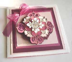 heart medallion card with Holly Berry House stamp